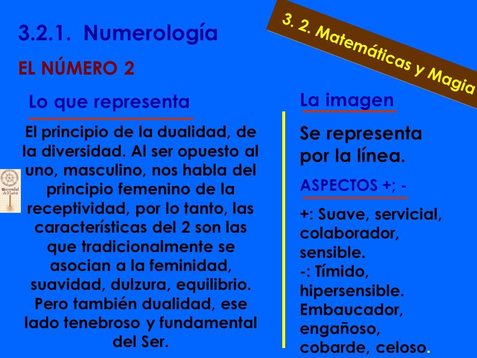 3.2.1. Numerología EL NÚMERO 1 Lo que representa El 1 es la determinación, la voluntad, lo que insta a que existan las cosas. Es el número del líder,