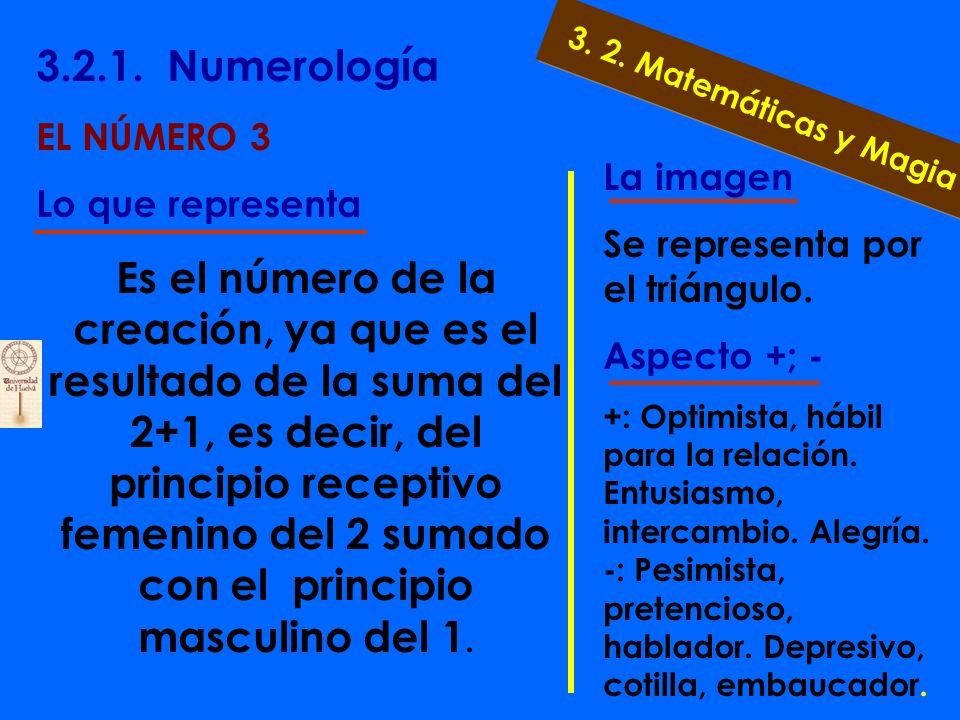 3.2.1. Numerología EL NÚMERO 2 Lo que representa El principio de la dualidad, de la diversidad. Al ser opuesto al uno, masculino, nos habla del princi