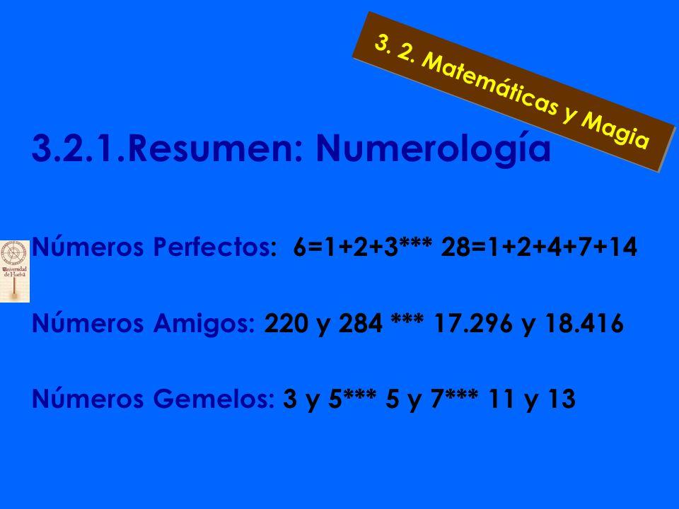3.2.1.Resumen: Numerología Uno- Lo bello y lo bueno Cuatro- Engendra la década Dos- Dualidad entre el Cinco- Matrimonio bien y el mal Tres- Principio,