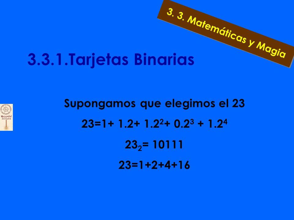 3.3.1.Tarjetas Binarias b) Observar con detalle las tarjetas: si escribimos la representación binaria de los números involucrados, en la tarjeta 1 están todos los números cuya última cifra es un uno, en la tarjeta 2, aquellos cuya penúltima cifra es un uno, y así sucesivamente.