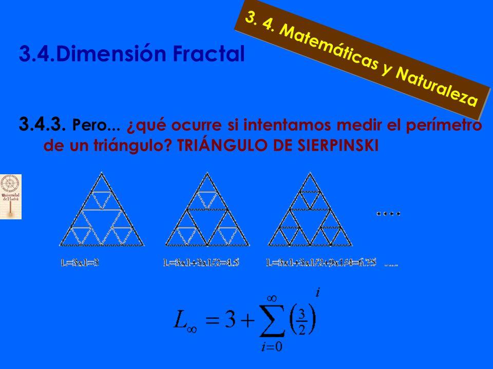 3.4.Dimensión Fractal 3.4.2. Pero... ¿qué ocurre si intentamos medir el volumen de un objeto geométrico? ¡ ¡De modo que la longitud de un cuadrado es