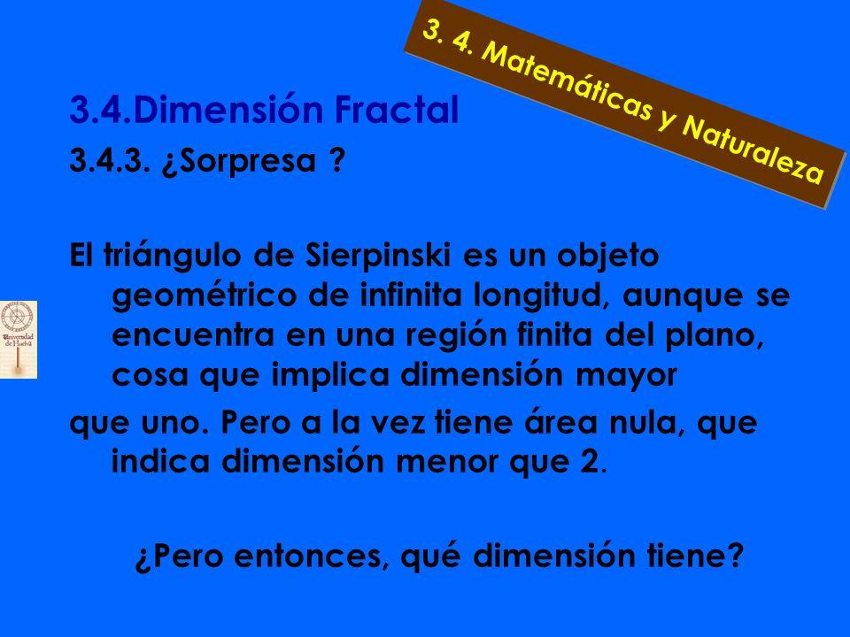 3.4.Dimensión Fractal 3.4.3. Pero... ¿qué ocurre si intentamos medir el área de un triángulo por aproximación? 3. 4. Matemáticas y Naturaleza