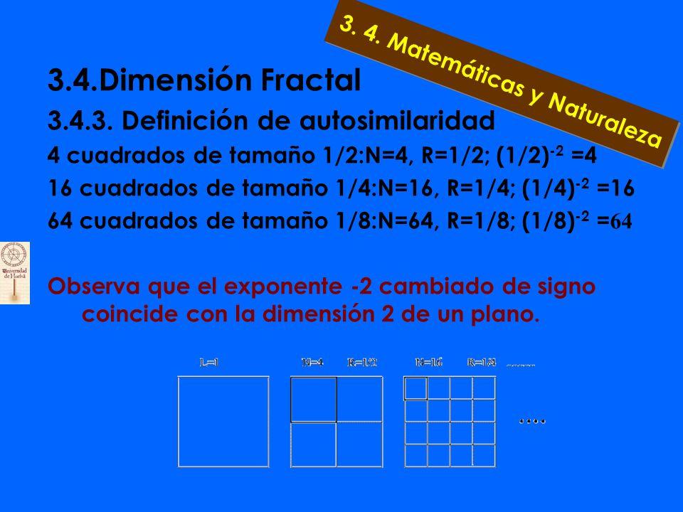 3.4.Dimensión Fractal 3.4.3. Definición de autosimilaridad Sea un segmento de longitud L=1. Podemos recubrirlo, por ejemplo, con: 2 segmentos de tamañ