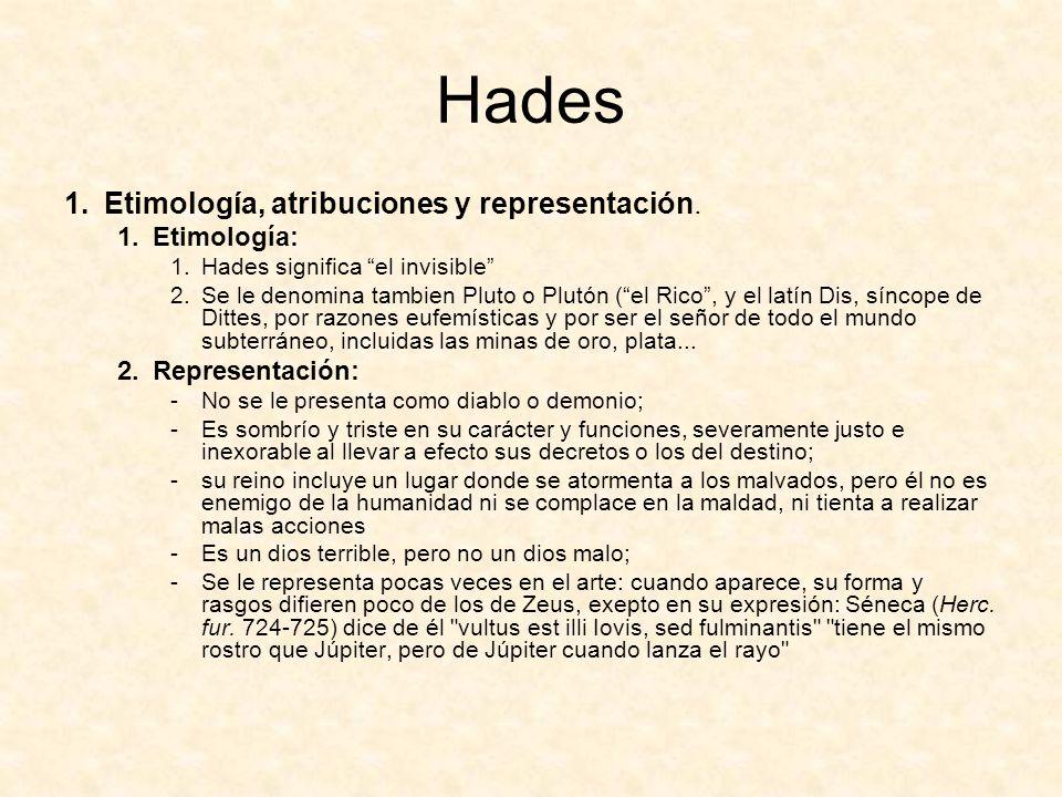 Hades 1.Etimología, atribuciones y representación.
