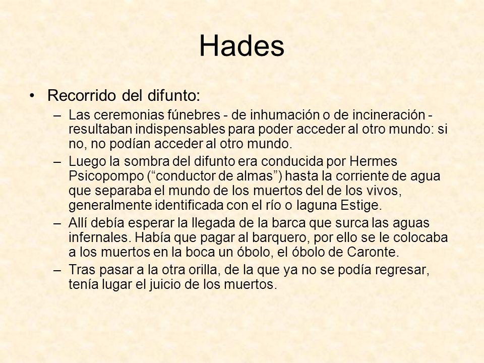 Hades Recorrido del difunto: –Las ceremonias fúnebres - de inhumación o de incineración - resultaban indispensables para poder acceder al otro mundo: si no, no podían acceder al otro mundo.