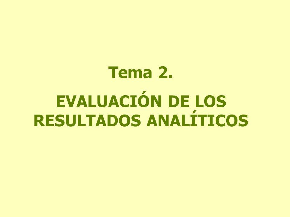 Tema 2. EVALUACIÓN DE LOS RESULTADOS ANALÍTICOS