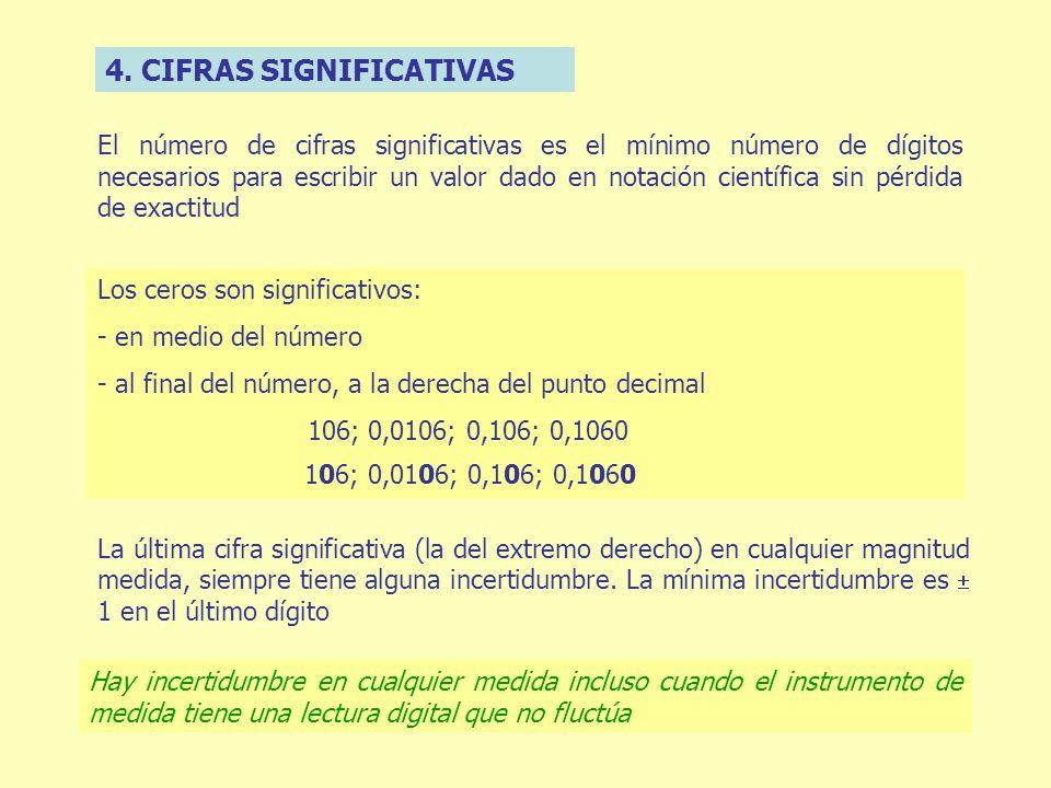 4. CIFRAS SIGNIFICATIVAS El número de cifras significativas es el mínimo número de dígitos necesarios para escribir un valor dado en notación científi