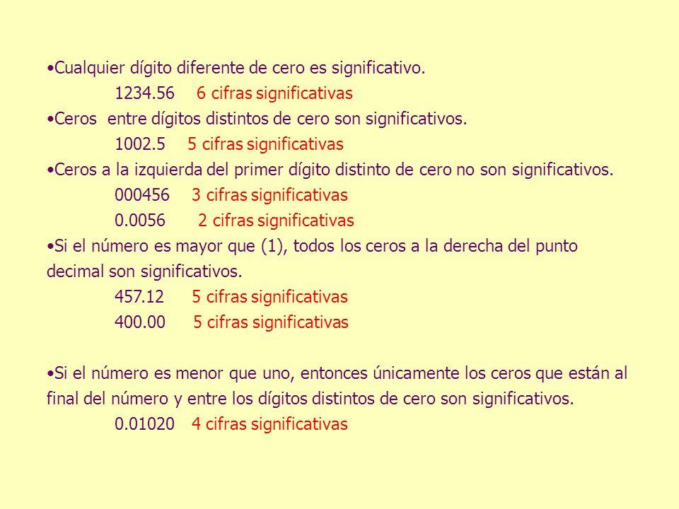 Cualquier dígito diferente de cero es significativo. 1234.56 6 cifras significativas Ceros entre dígitos distintos de cero son significativos. 1002.5