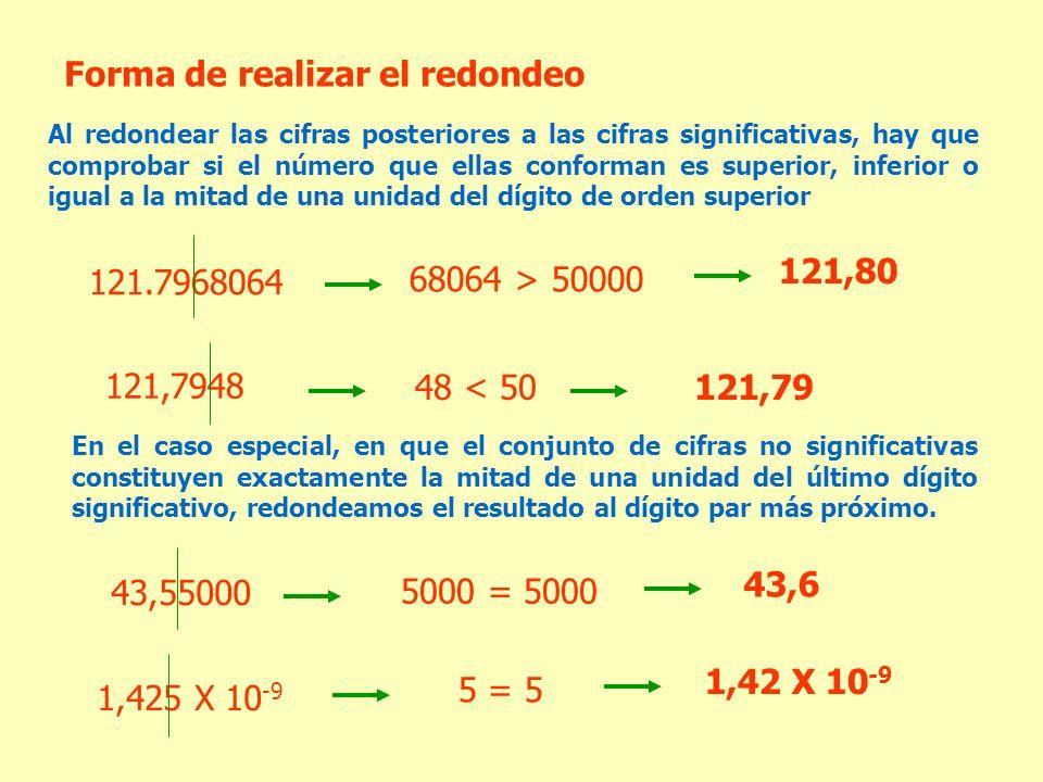 Forma de realizar el redondeo Al redondear las cifras posteriores a las cifras significativas, hay que comprobar si el número que ellas conforman es s