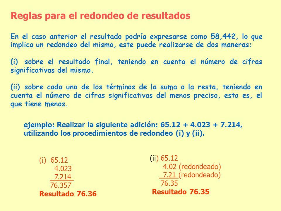 Reglas para el redondeo de resultados En el caso anterior el resultado podría expresarse como 58,442, lo que implica un redondeo del mismo, este puede