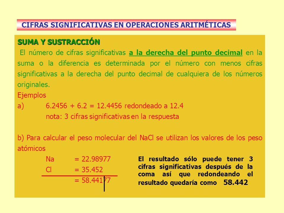 CIFRAS SIGNIFICATIVAS EN OPERACIONES ARITMÉTICAS SUMA Y SUSTRACCIÓN El número de cifras significativas a la derecha del punto decimal en la suma o la