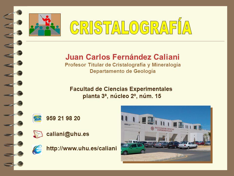 Juan Carlos Fernández Caliani Profesor Titular de Cristalografía y Mineralogía Departamento de Geología Facultad de Ciencias Experimentales planta 3ª,