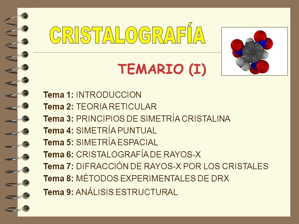 TEMARIO (I) Tema 1: INTRODUCCION Tema 2: TEORIA RETICULAR Tema 3: PRINCIPIOS DE SIMETRÍA CRISTALINA Tema 4: SIMETRÍA PUNTUAL Tema 5: SIMETRÍA ESPACIAL