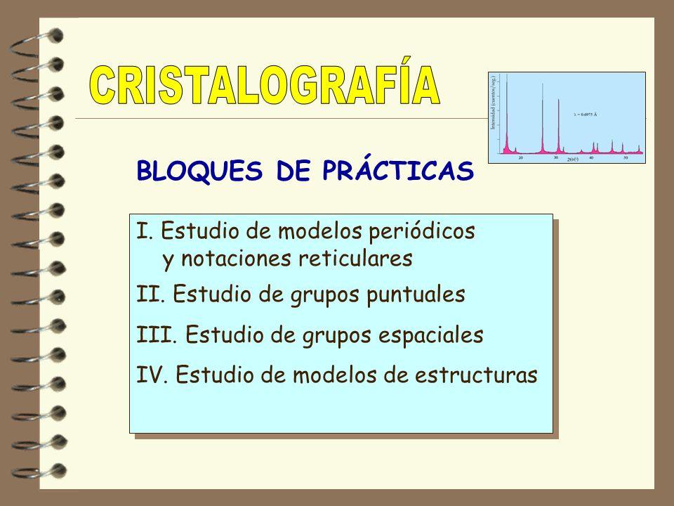 BLOQUES DE PRÁCTICAS I. Estudio de modelos periódicos y notaciones reticulares II. Estudio de grupos puntuales III. Estudio de grupos espaciales IV. E