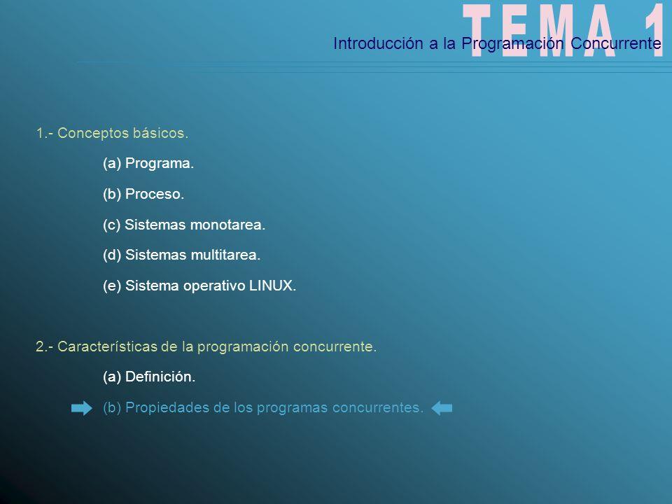 Características de los programas concurrentes Orden: Orden en que se ejecutan las instrucciones.