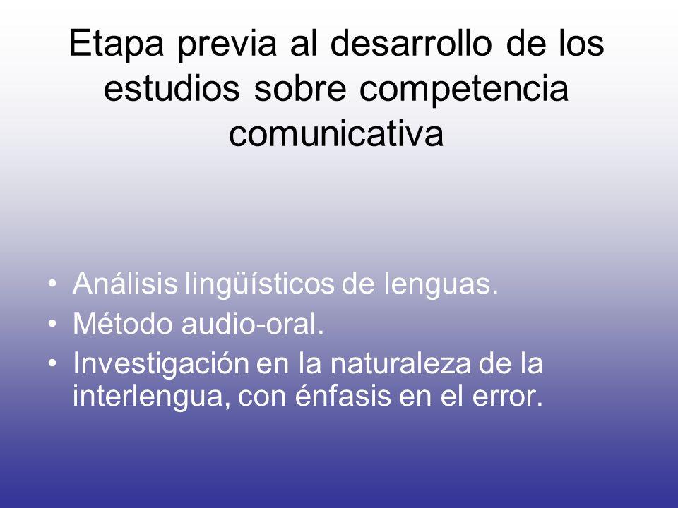 Etapa previa al desarrollo de los estudios sobre competencia comunicativa Análisis lingüísticos de lenguas. Método audio-oral. Investigación en la nat