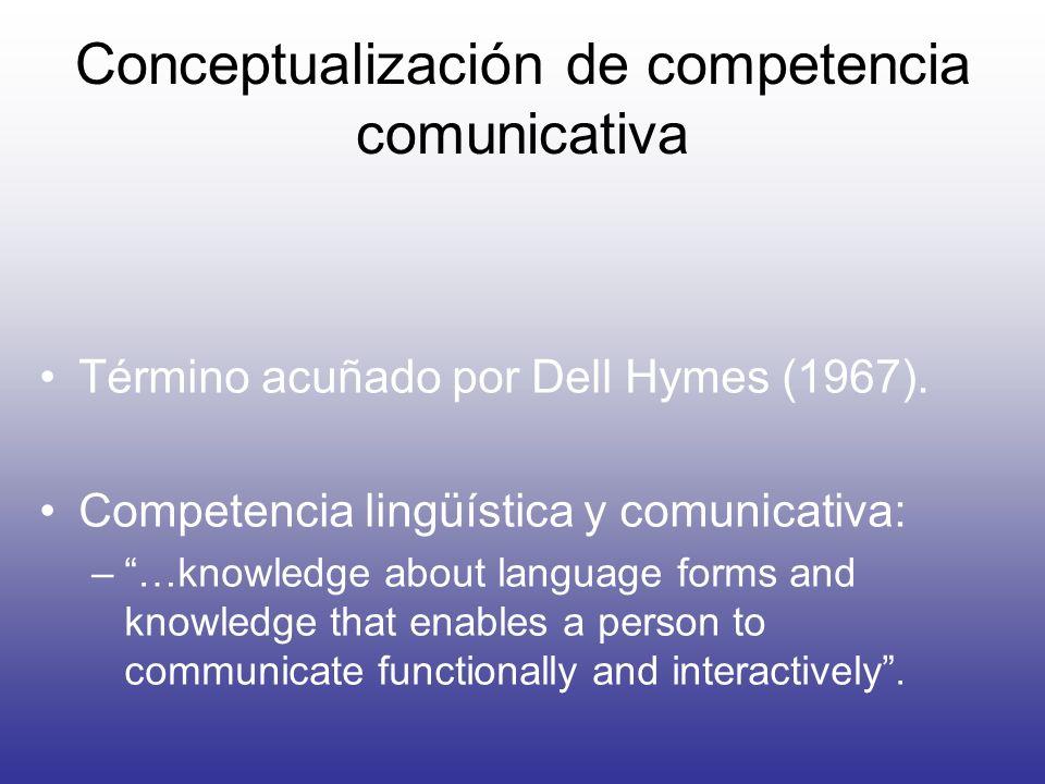 Conceptualización de competencia comunicativa Término acuñado por Dell Hymes (1967). Competencia lingüística y comunicativa: –…knowledge about languag
