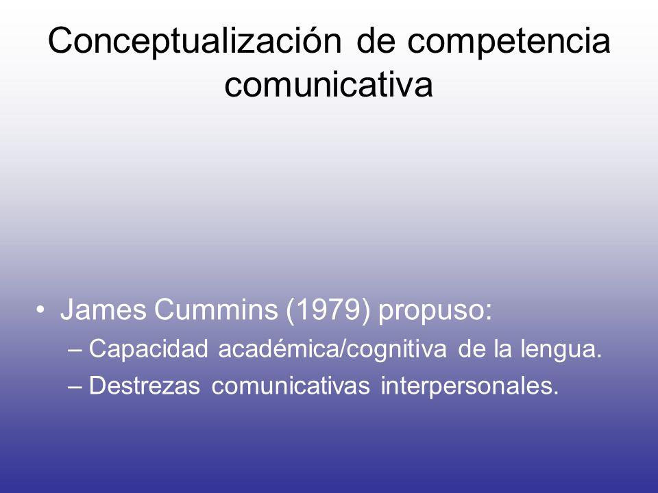 Conceptualización de competencia comunicativa James Cummins (1979) propuso: –Capacidad académica/cognitiva de la lengua. –Destrezas comunicativas inte