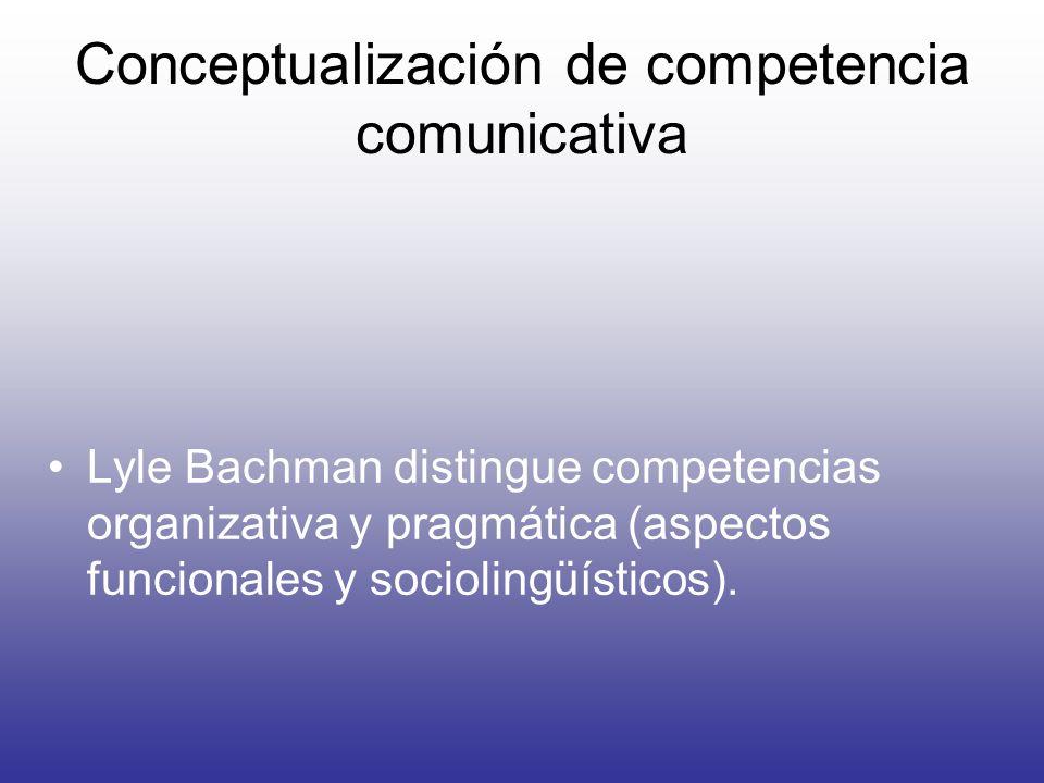 Conceptualización de competencia comunicativa Lyle Bachman distingue competencias organizativa y pragmática (aspectos funcionales y sociolingüísticos)
