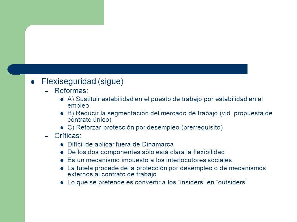 Flexiseguridad (sigue) – Reformas: A) Sustituir estabilidad en el puesto de trabajo por estabilidad en el empleo B) Reducir la segmentación del mercad