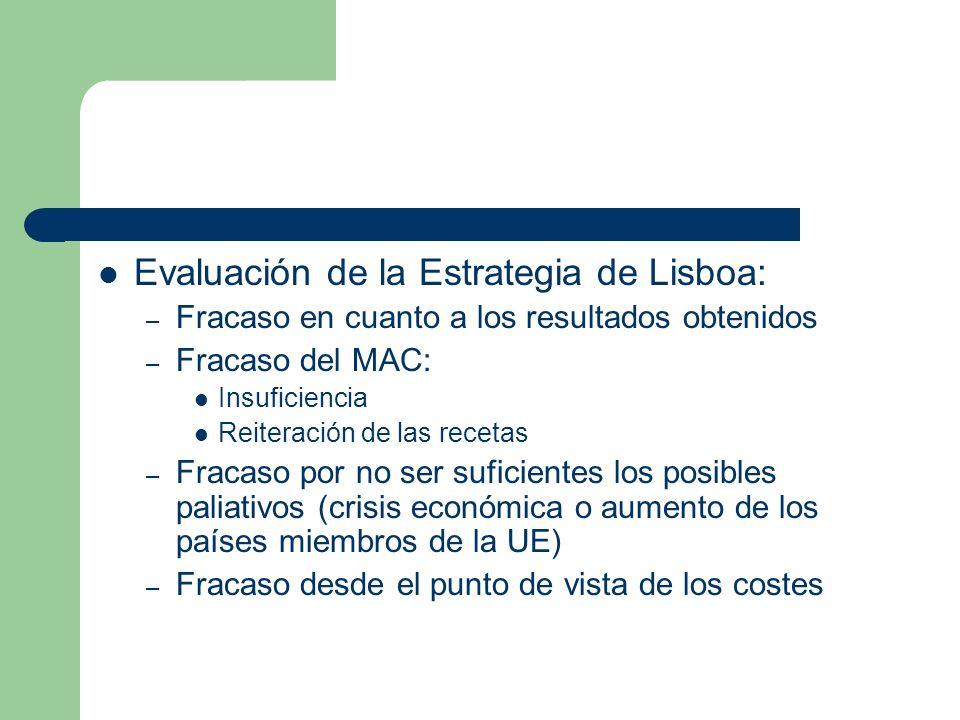 Evaluación de la Estrategia de Lisboa: – Fracaso en cuanto a los resultados obtenidos – Fracaso del MAC: Insuficiencia Reiteración de las recetas – Fr