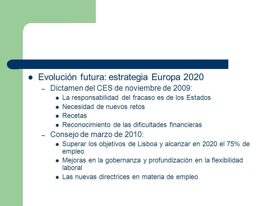 Evolución futura: estrategia Europa 2020 – Dictamen del CES de noviembre de 2009: La responsabilidad del fracaso es de los Estados Necesidad de nuevos