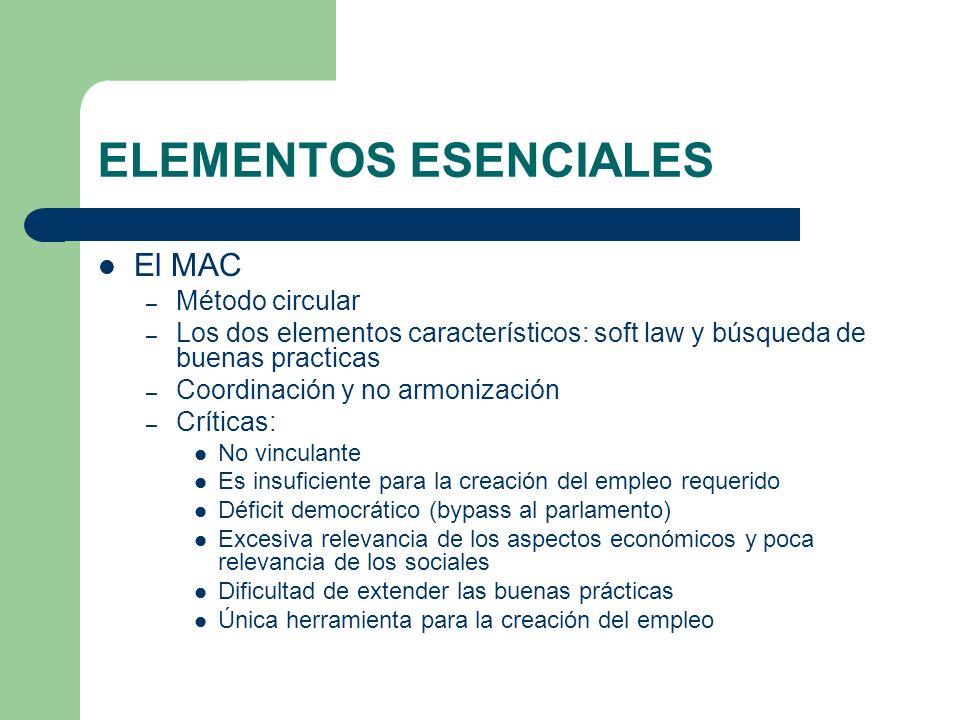 ELEMENTOS ESENCIALES El MAC – Método circular – Los dos elementos característicos: soft law y búsqueda de buenas practicas – Coordinación y no armoniz