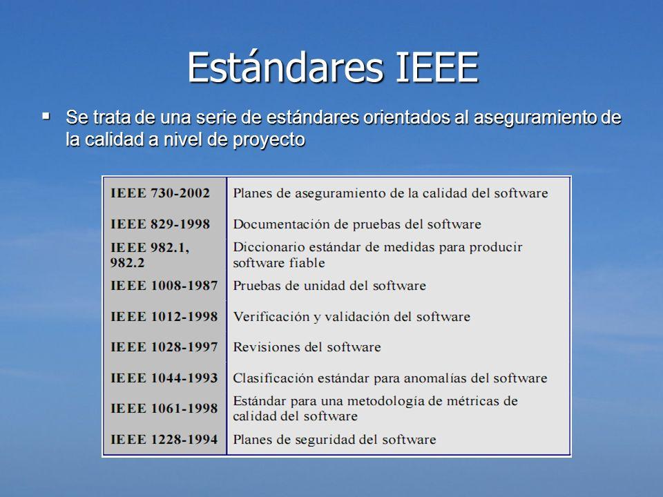 Estándares IEEE Se trata de una serie de estándares orientados al aseguramiento de la calidad a nivel de proyecto Se trata de una serie de estándares