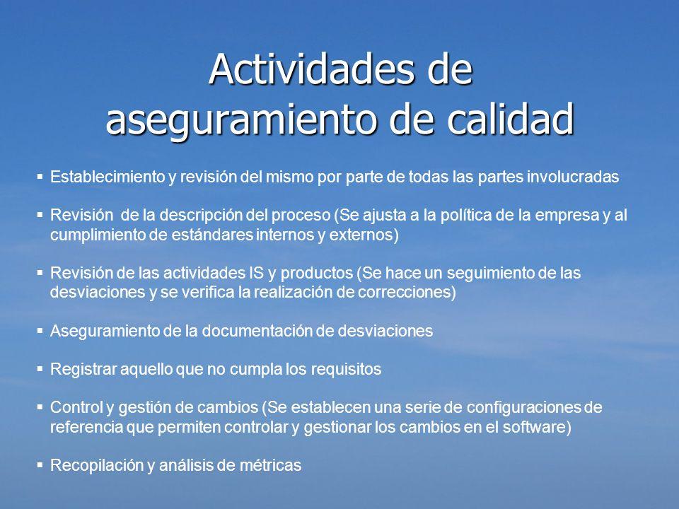 Actividades de aseguramiento de calidad Establecimiento y revisión del mismo por parte de todas las partes involucradas Revisión de la descripción del