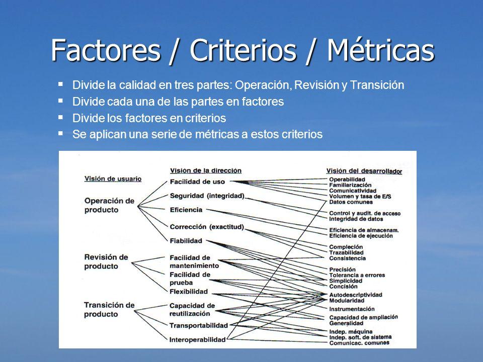 Divide la calidad en tres partes: Operación, Revisión y Transición Divide cada una de las partes en factores Divide los factores en criterios Se aplic