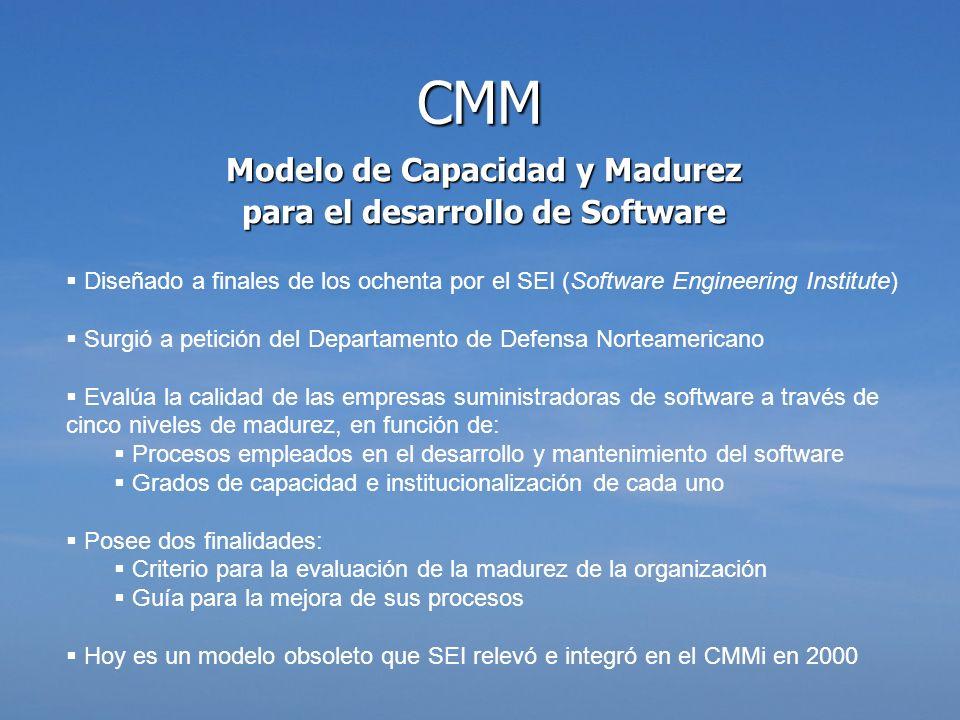 Modelo de Capacidad y Madurez para el desarrollo de Software Diseñado a finales de los ochenta por el SEI (Software Engineering Institute) Surgió a pe