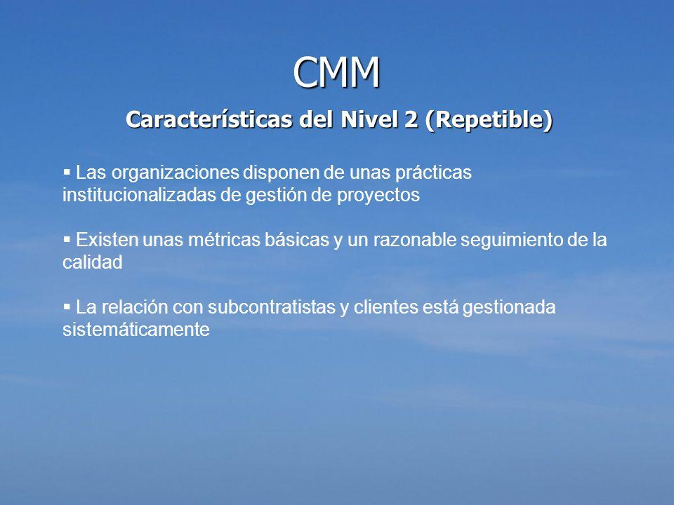 Características del Nivel 2 (Repetible) Las organizaciones disponen de unas prácticas institucionalizadas de gestión de proyectos Existen unas métrica