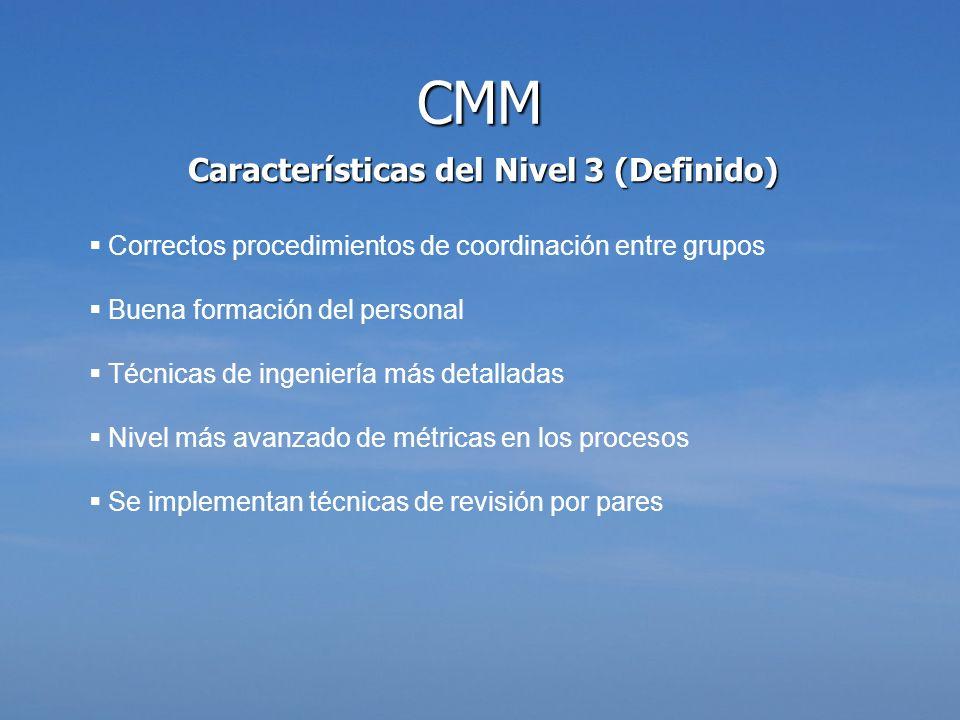 Características del Nivel 3 (Definido) Correctos procedimientos de coordinación entre grupos Buena formación del personal Técnicas de ingeniería más d