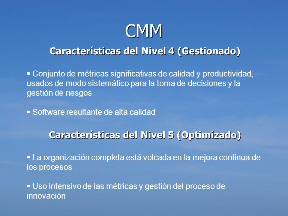 Características del Nivel 4 (Gestionado) Conjunto de métricas significativas de calidad y productividad, usados de modo sistemático para la toma de de