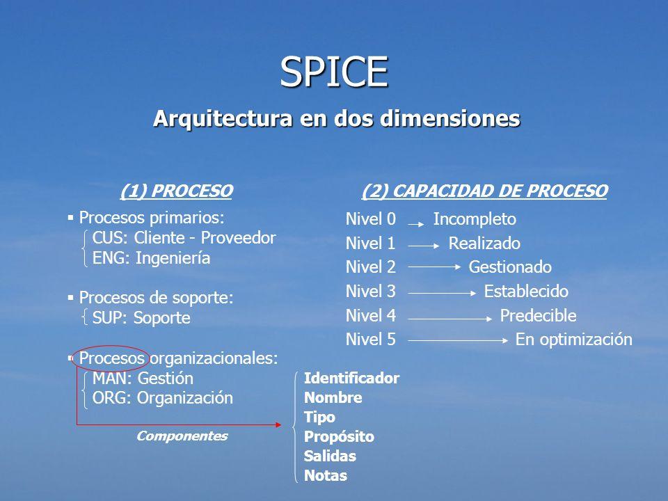Arquitectura en dos dimensiones (1) PROCESO Procesos primarios: CUS: Cliente - Proveedor ENG: Ingeniería Procesos de soporte: SUP: Soporte Procesos or