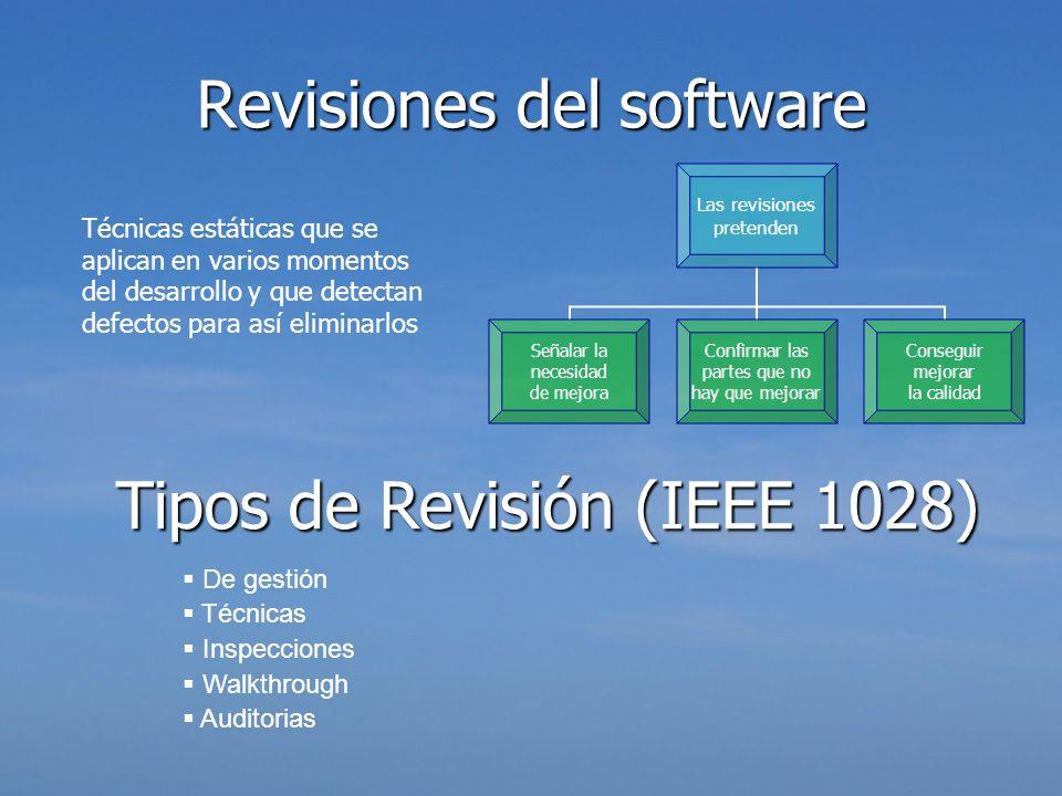 Revisiones delsoftware Revisiones del software Técnicas estáticas que se aplican en varios momentos del desarrollo y que detectan defectos para así el