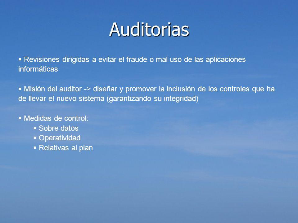 Revisiones dirigidas a evitar el fraude o mal uso de las aplicaciones informáticas Misión del auditor -> diseñar y promover la inclusión de los contro