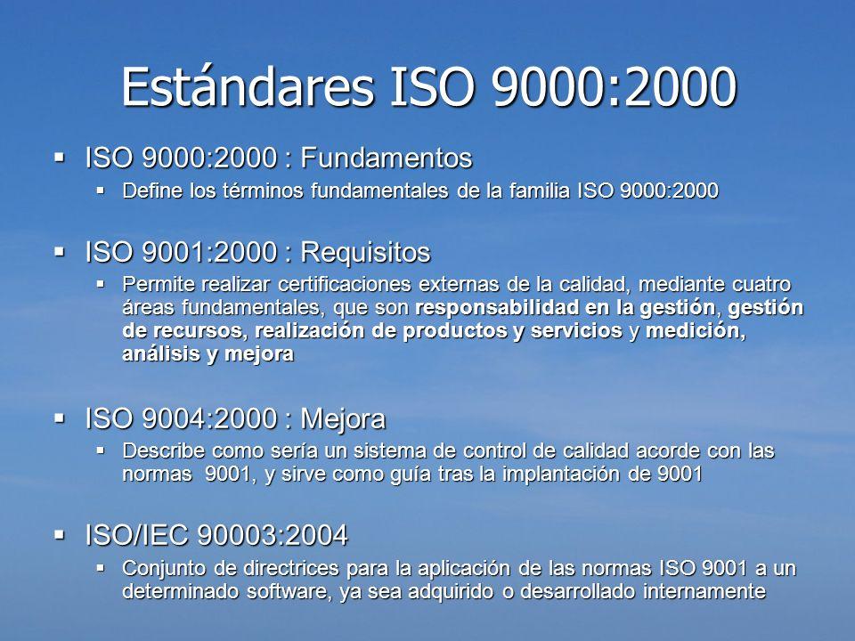 Estándares ISO 9000:2000 ISO 9000:2000 : Fundamentos ISO 9000:2000 : Fundamentos Define los términos fundamentales de la familia ISO 9000:2000 Define