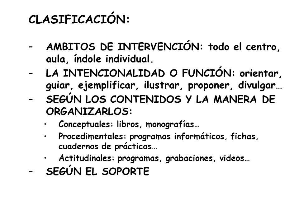 CLASIFICACIÓN: –AMBITOS DE INTERVENCIÓN: todo el centro, aula, índole individual. –LA INTENCIONALIDAD O FUNCIÓN: orientar, guiar, ejemplificar, ilustr