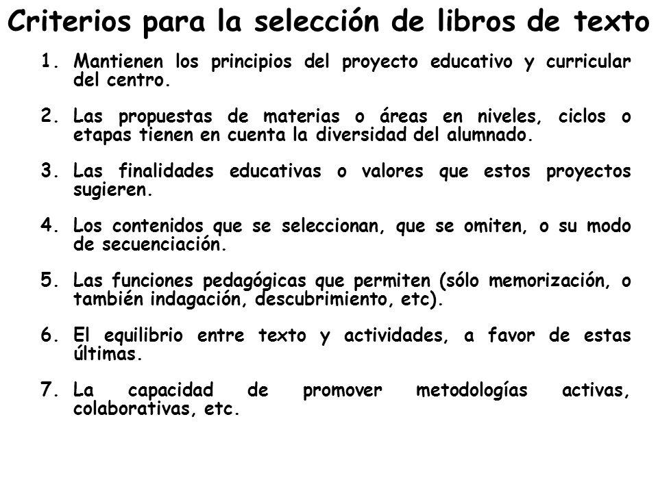 Criterios para la selección de libros de texto 1.Mantienen los principios del proyecto educativo y curricular del centro. 2.Las propuestas de materias