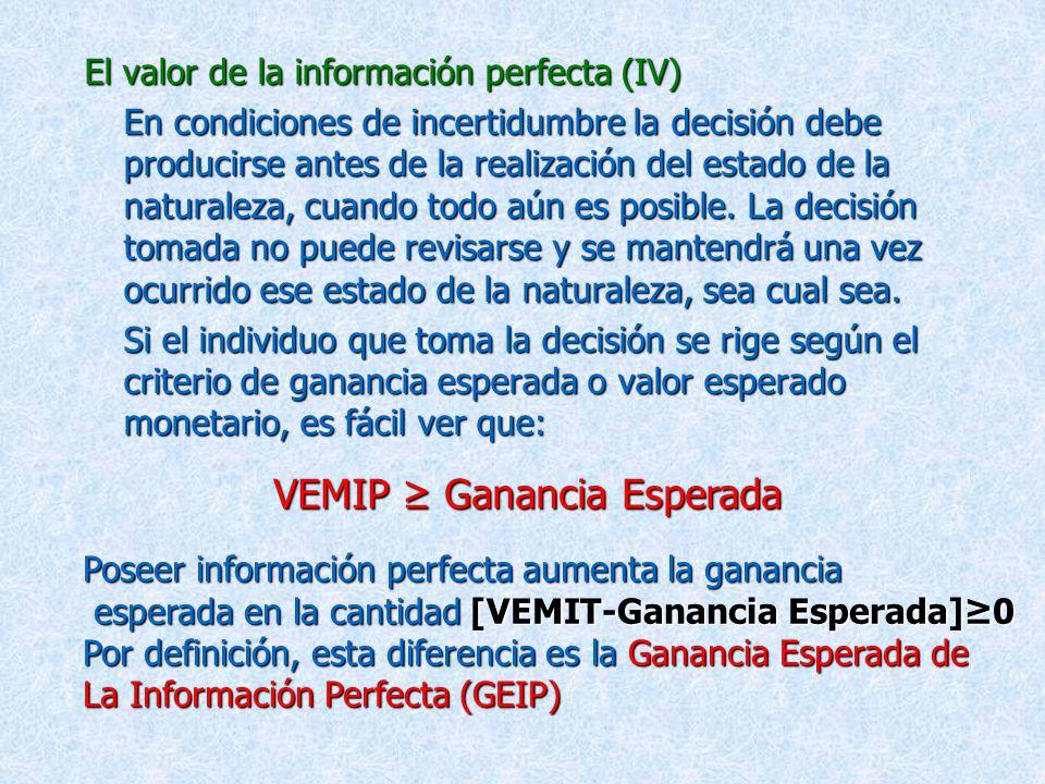 El valor de la información perfecta (III) El valor esperado monetario en información perfecta (VEMIT) indica la ganancia esperada o valor esperado mon