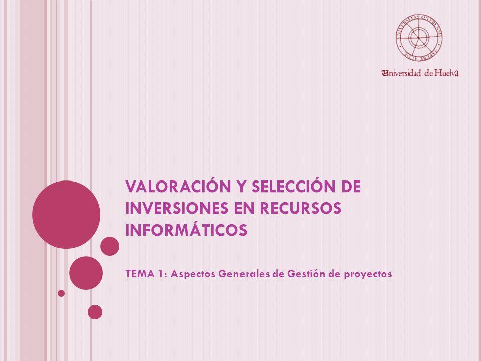 VALORACIÓN Y SELECCIÓN DE INVERSIONES EN RECURSOS INFORMÁTICOS TEMA 1: Aspectos Generales de Gestión de proyectos