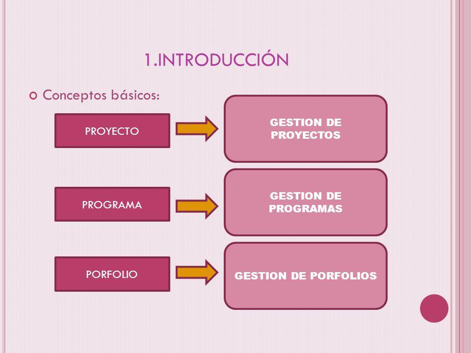 1.INTRODUCCIÓN PROGRAMA PROYECTO PORFOLIO GESTION DE PROYECTOS GESTION DE PROGRAMAS GESTION DE PORFOLIOS