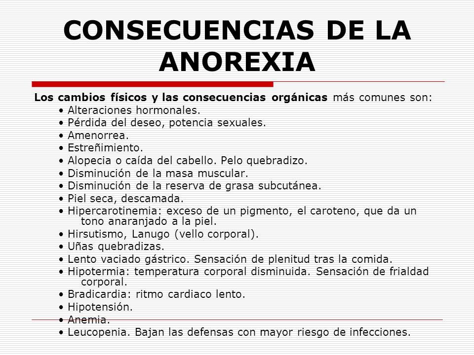 CONSECUENCIAS DE LA ANOREXIA Los cambios físicos y las consecuencias orgánicas más comunes son: Alteraciones hormonales. Pérdida del deseo, potencia s