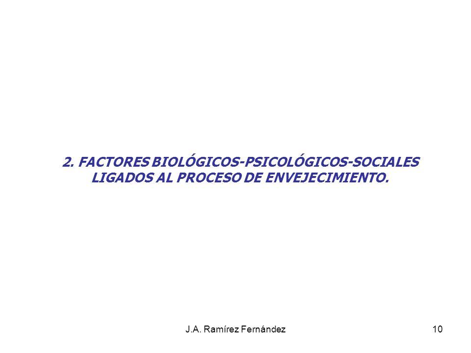 J.A. Ramírez Fernández10 2. FACTORES BIOLÓGICOS-PSICOLÓGICOS-SOCIALES LIGADOS AL PROCESO DE ENVEJECIMIENTO.
