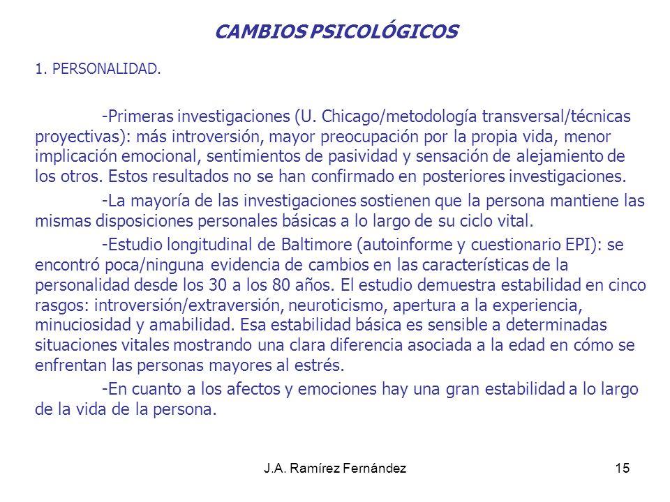 J.A.Ramírez Fernández16 CAMBIOS PSICOLÓGICOS 2. FUNCIONAMIENTO INTELECTUAL.