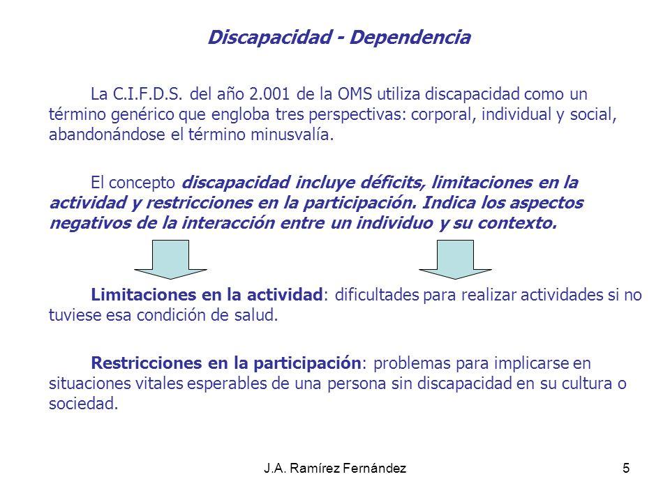 J.A. Ramírez Fernández5 Discapacidad - Dependencia La C.I.F.D.S. del año 2.001 de la OMS utiliza discapacidad como un término genérico que engloba tre