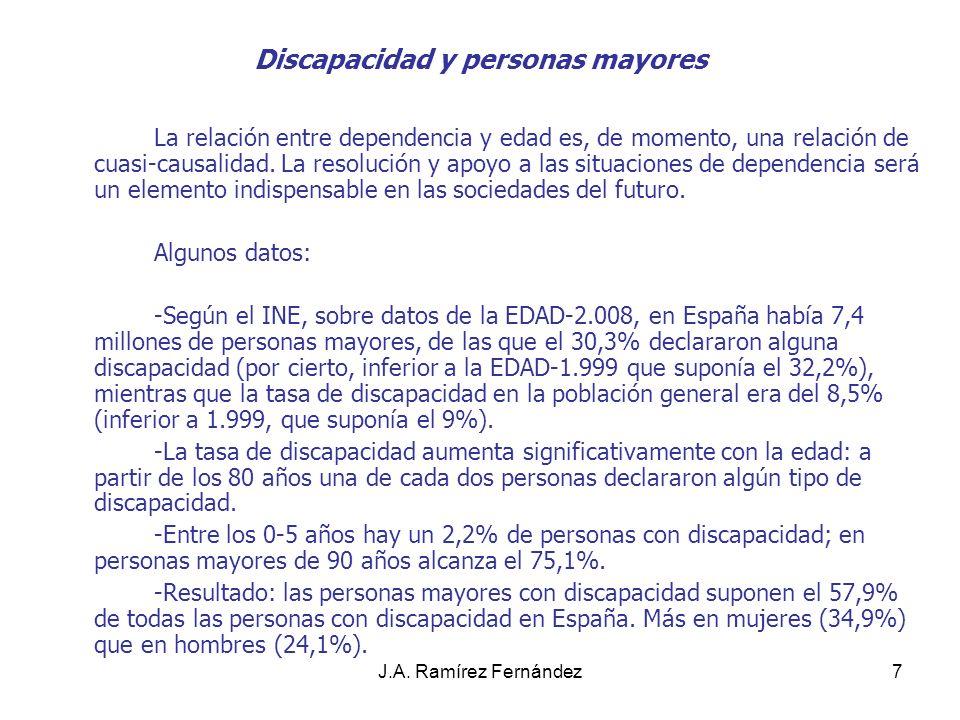 J.A. Ramírez Fernández7 Discapacidad y personas mayores La relación entre dependencia y edad es, de momento, una relación de cuasi-causalidad. La reso