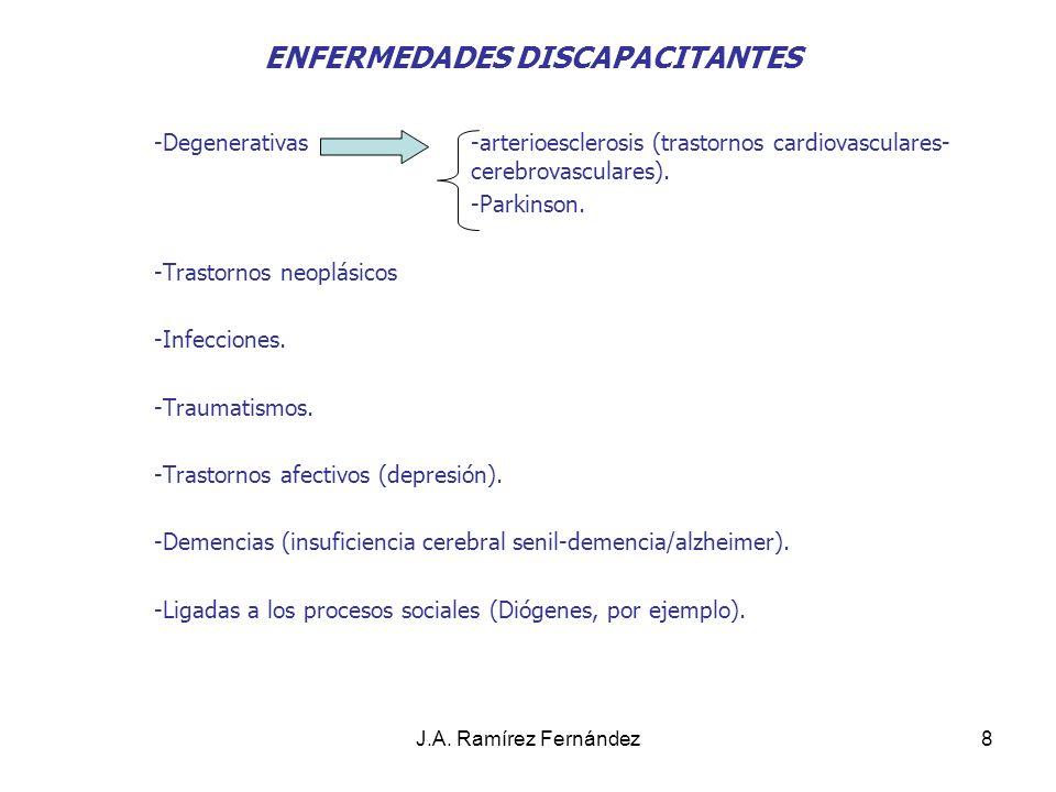 J.A. Ramírez Fernández8 ENFERMEDADES DISCAPACITANTES -Degenerativas-arterioesclerosis (trastornos cardiovasculares- cerebrovasculares). -Parkinson. -T