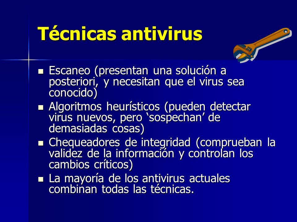 Técnicas antivirus Escaneo (presentan una solución a posteriori, y necesitan que el virus sea conocido) Escaneo (presentan una solución a posteriori,